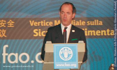 Luca Zaia Ministro delle Politiche Agricole Alimentari e Forestali durante il suo intervento al World Food Summit della FAO